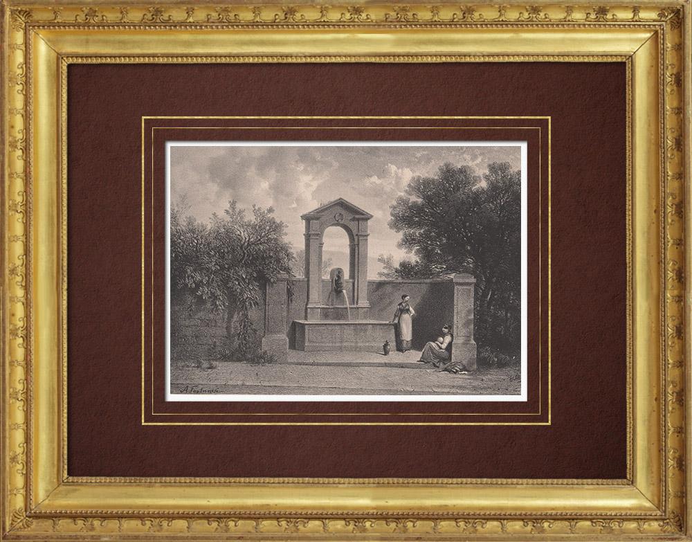 Stampe Antiche & Disegni | Fonte - Sorgente - Fontaine de Beauregard - Ginevra (Svizzera) | Litografia | 1854