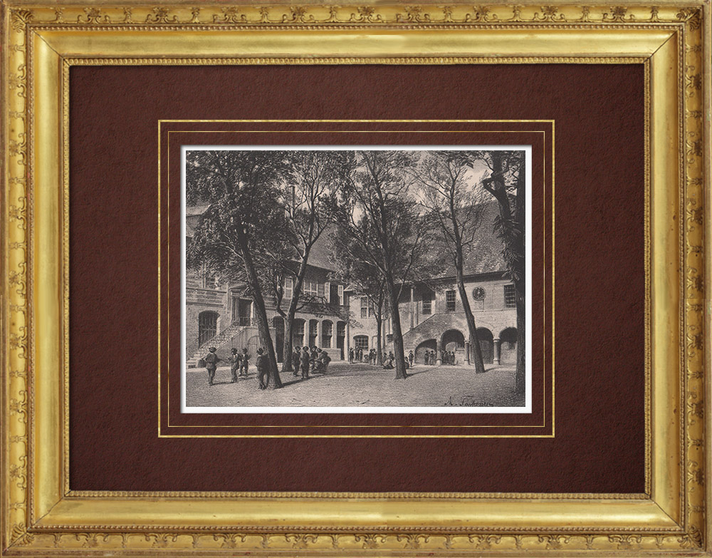 Antique Prints & Drawings   Collège de Genève courtyard - Geneva (Switzerland)   Lithography   1854