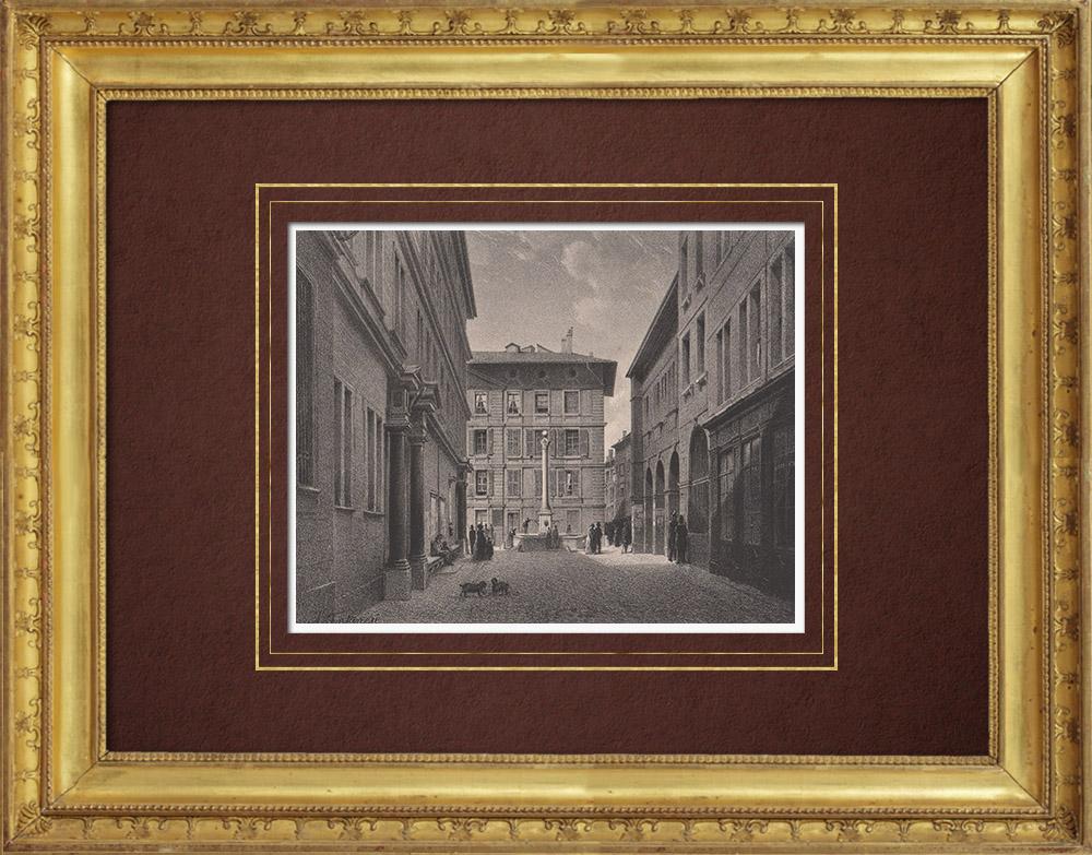 Stampe Antiche & Disegni | Municipio di Ginevra - Fonte (Svizzera) | Litografia | 1854