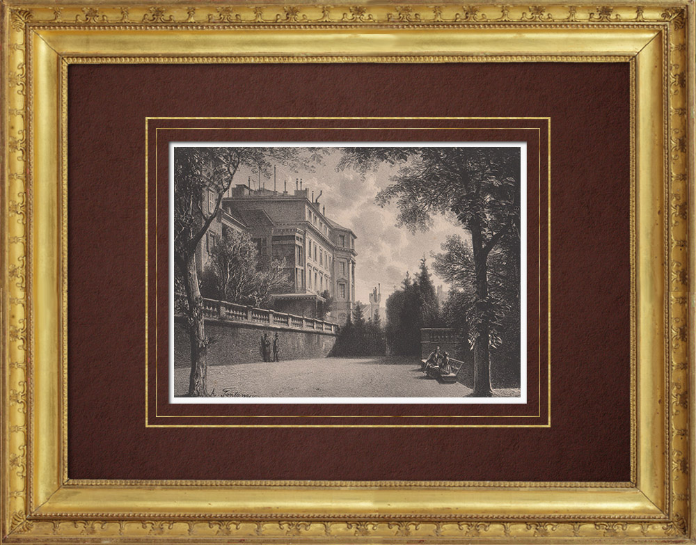 Antique Prints & Drawings   View of Geneva - Promenade de la Treille (Switzerland)   Lithography   1854