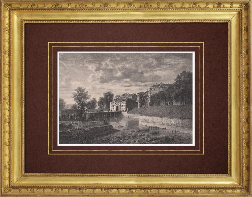 Antique Prints & Drawings | View of Geneva - Porte Neuve (Switzerland) | Lithography | 1854