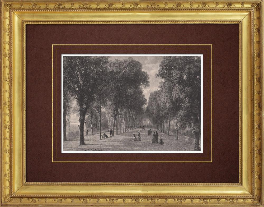 Stampe Antiche & Disegni | Veduta di Ginevra - Parc des Bastions (Svizzera) | Litografia | 1854