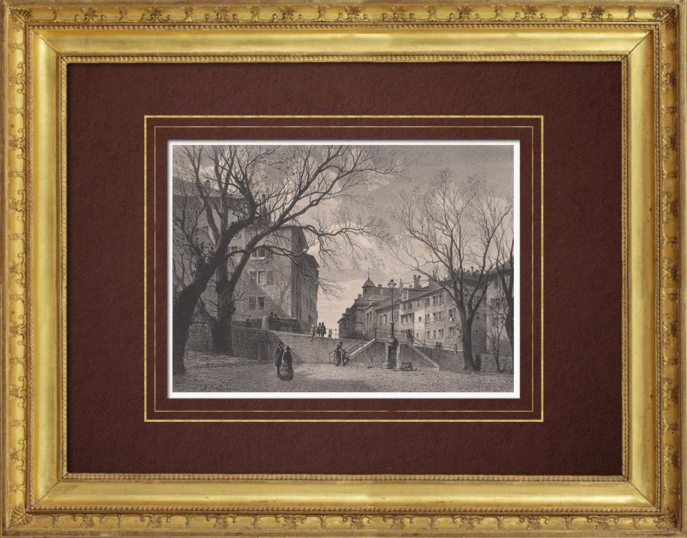 Grabados & Dibujos Antiguos | Vista de Ginebra - Bourg-de-Four (Suiza) | Litografía | 1854