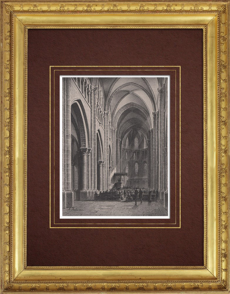 Grabados & Dibujos Antiguos   Catedral de San Pedro - Ginebra  (Suiza)   Litografía   1854