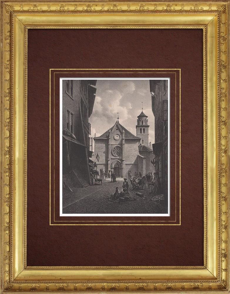 Stampe Antiche & Disegni   Tempio de la Madeleine - Ginevra  (Svizzera)   Litografia   1854