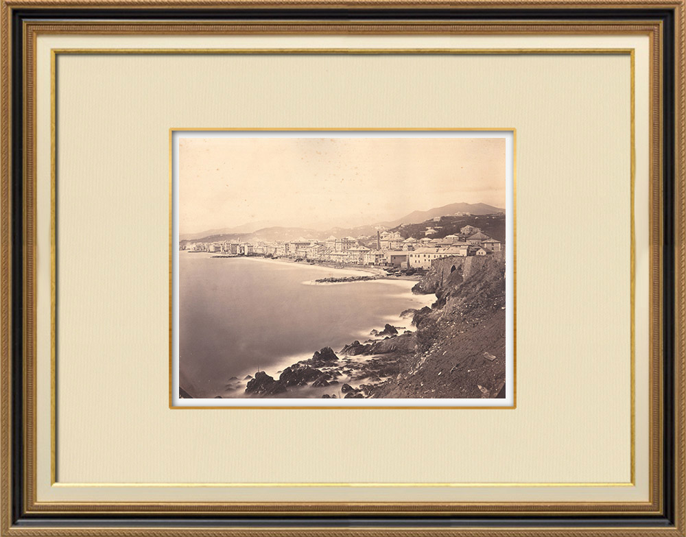 Stampe Antiche & Disegni | Veduta di Sampierdarena - Genova (Italia) | Fotografia | 1870