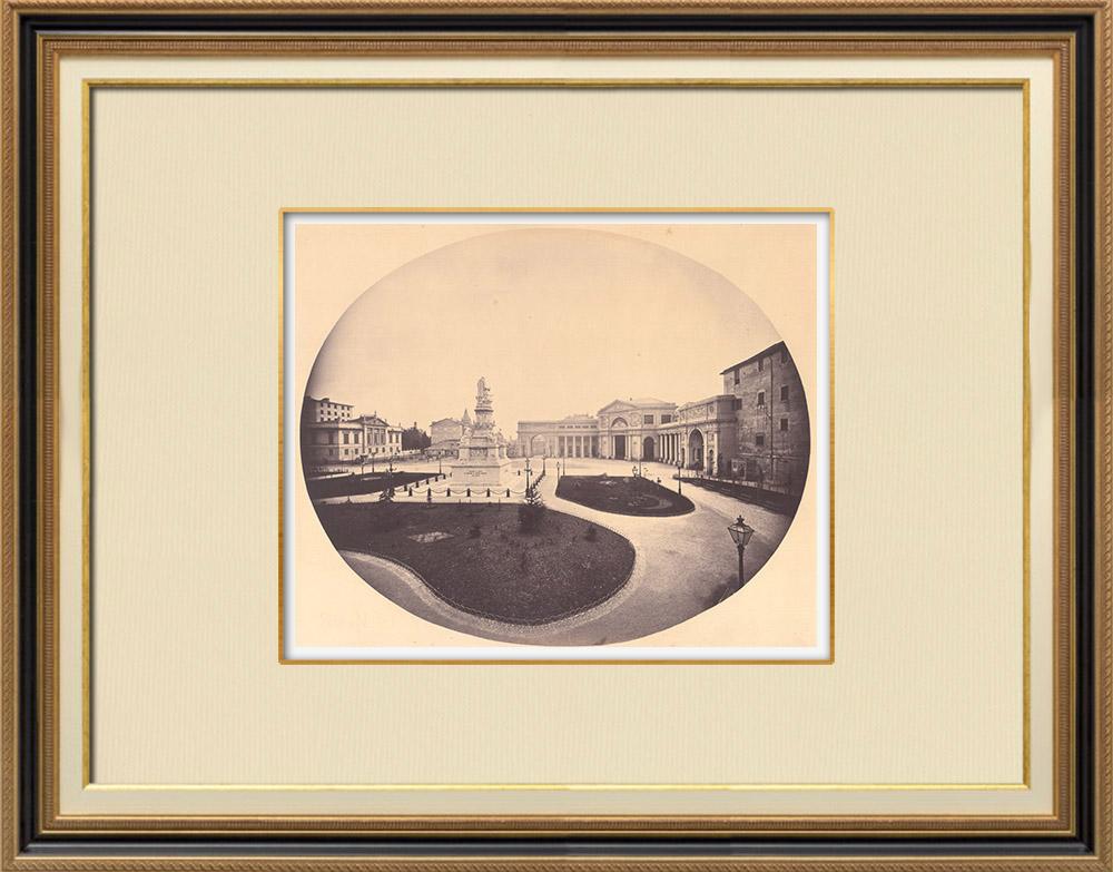 Stampe Antiche & Disegni | Veduta della Piazza dell'Acqua Verde - Monumento a Cristoforo Colombo - Genova (Italia) | Fotografia | 1870