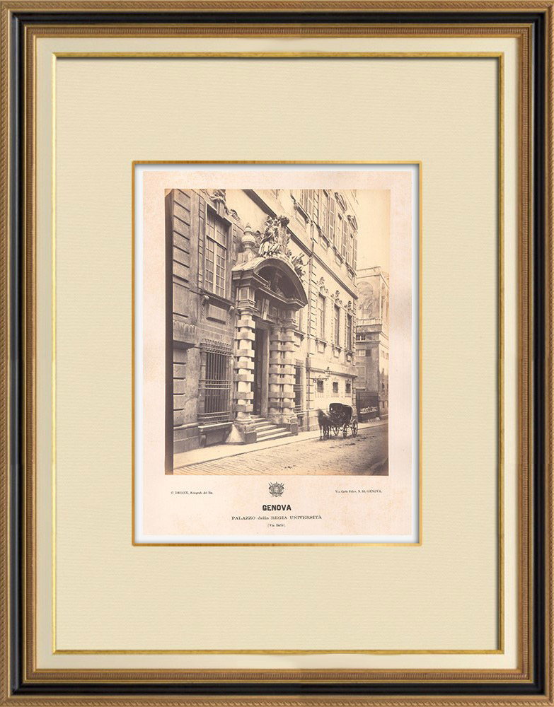 Stampe Antiche & Disegni | Palazzo della Regia Università di Genova - Liguria (Italia) | Fotografia | 1870