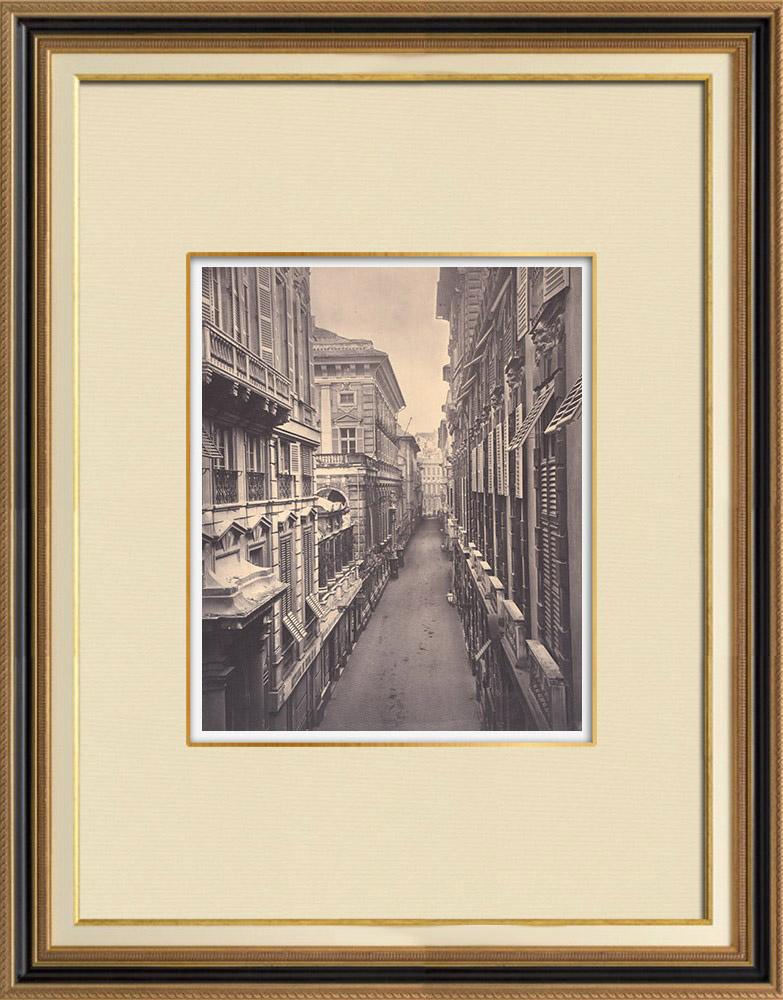 Stampe Antiche & Disegni | Strada Nuova - Palazzi - Rinascimento - Genova - Liguria (Italia) | Fotografia | 1870