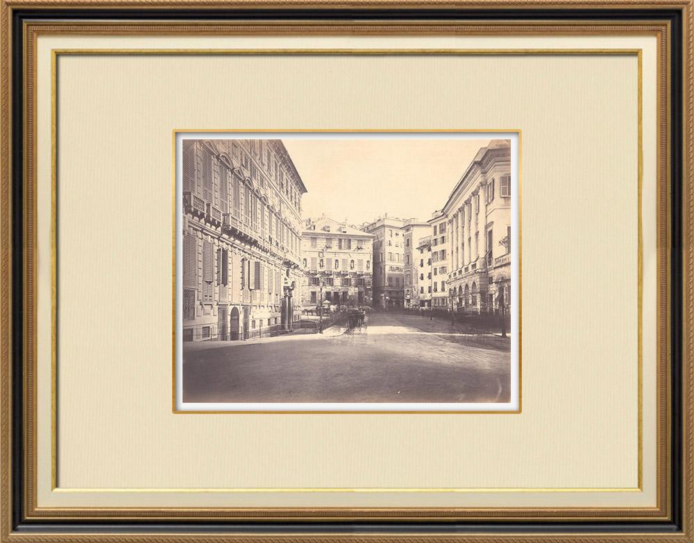 Stampe Antiche & Disegni | Piazza delle Fontane Marose - Palazzi - Genova - Liguria (Italia) | Fotografia | 1870