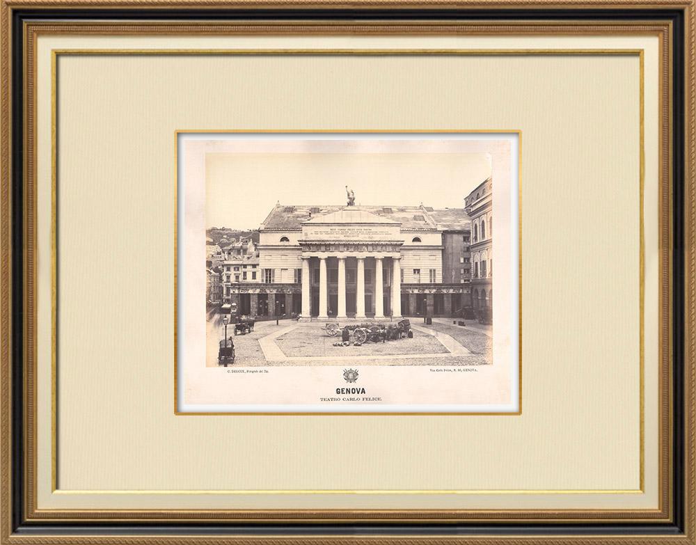 Stampe Antiche & Disegni | Teatro Carlo Felice - Genova - Liguria (Italia) | Fotografia | 1870