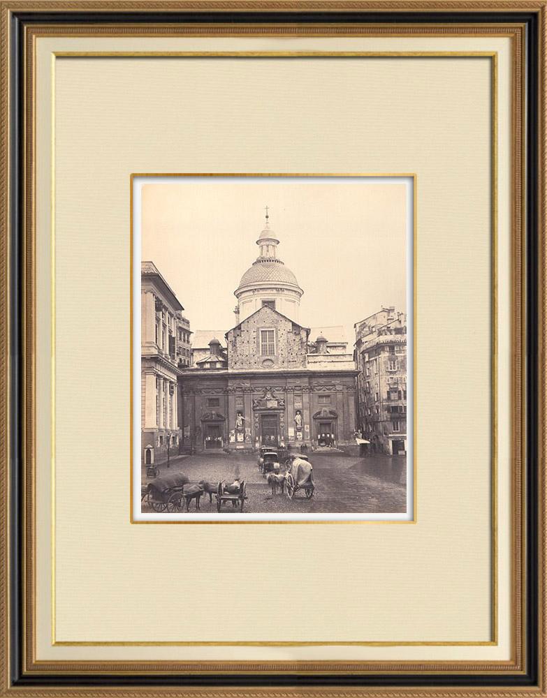 Antique Prints & Drawings | Gesù e dei Santi Ambrogio Church - Genoa - Liguria (Italy) | Photography | 1870