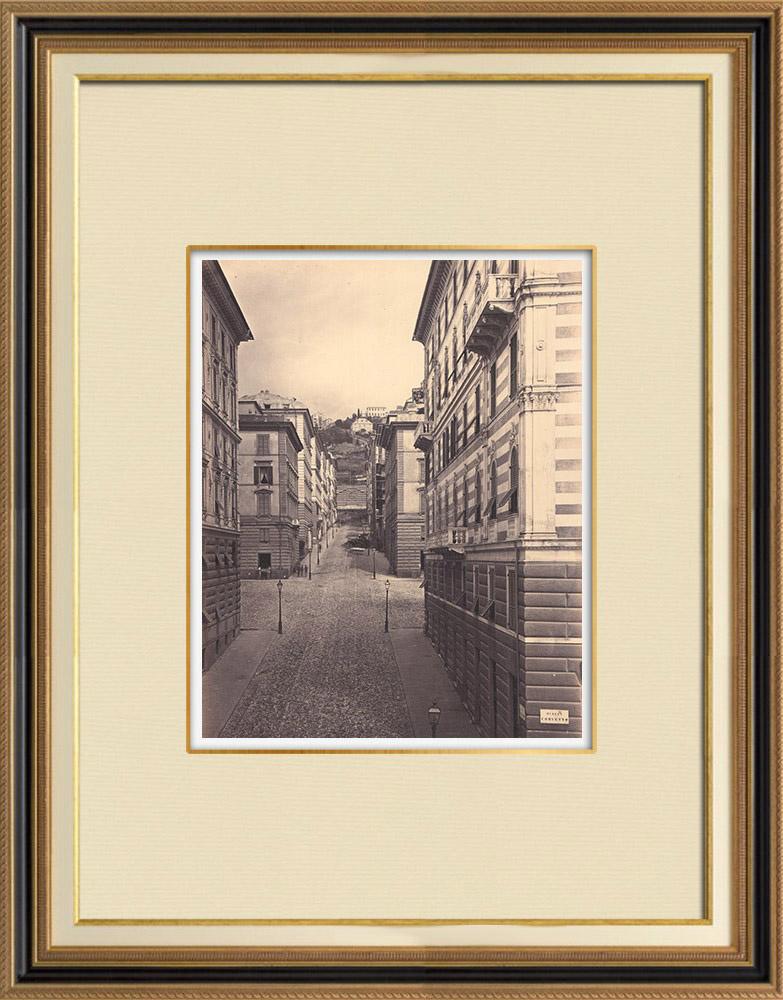 Stampe Antiche & Disegni   Veduta di Genova - Via Palestro (Italia)   Fotografia   1870
