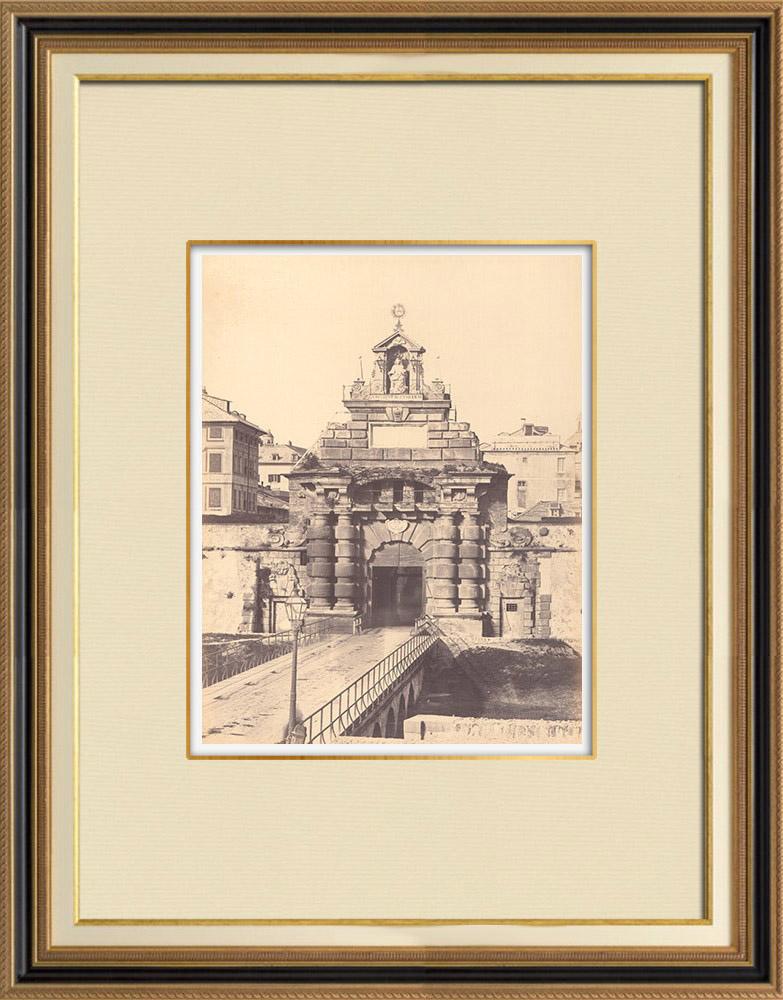 Antique Prints & Drawings | Porta Pila - XVIIth Century - Genoa - Liguria (Italy) | Photography | 1870