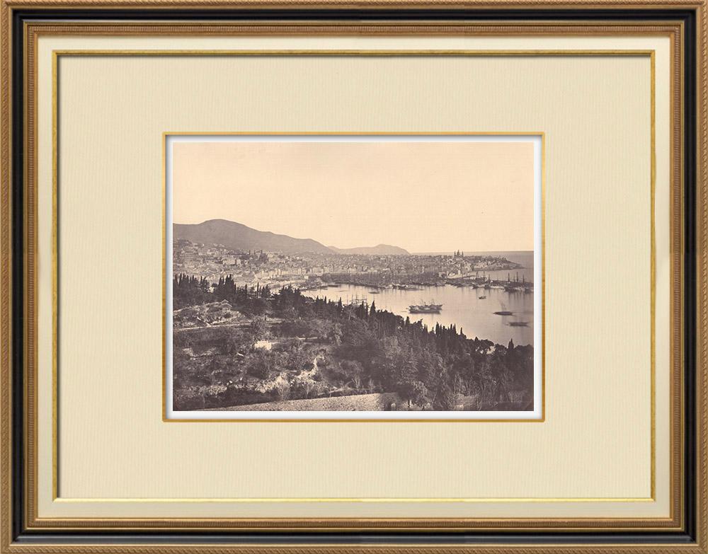 Stampe Antiche & Disegni | Paesaggio vicino Baia degli Angeli - Genova - Liguria (Italia) | Fotografia | 1870