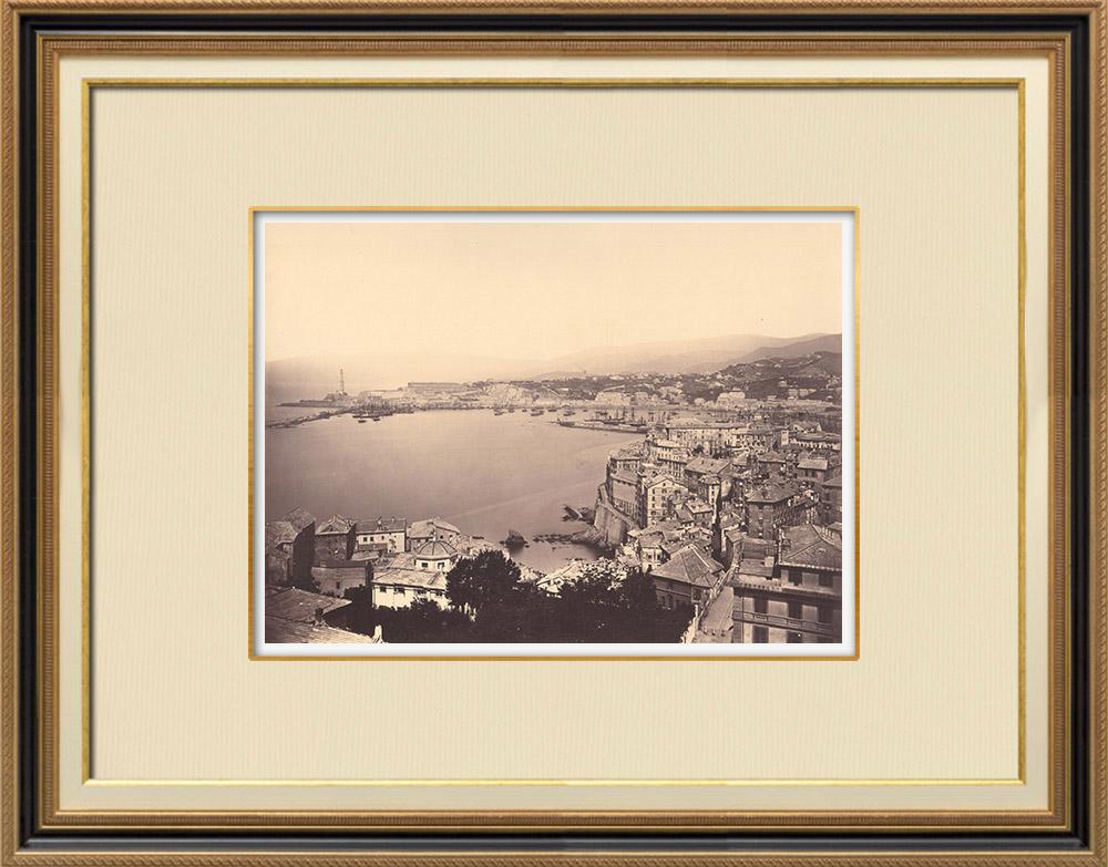 Stampe Antiche & Disegni | Genova vista presa della basilica di Santa Maria Assunta - Liguria (Italia) | Fotografia | 1870