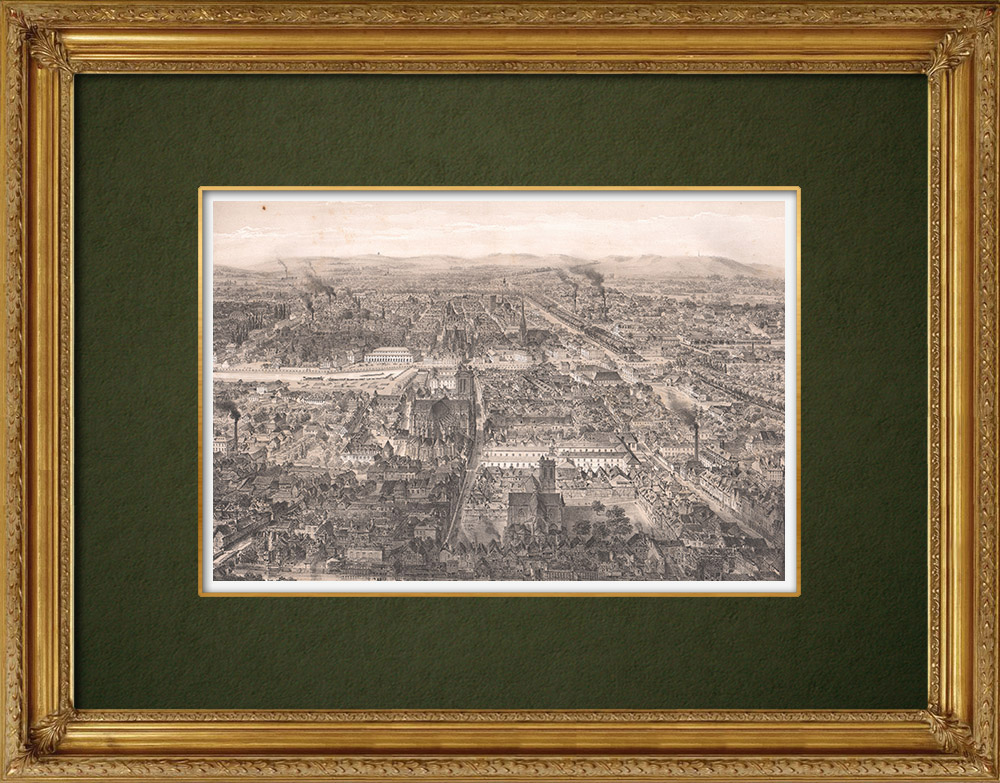 Antique Prints & Drawings | Overview of Troyes - Champagne-Ardenne - Aube (France) | Lithography | 1852