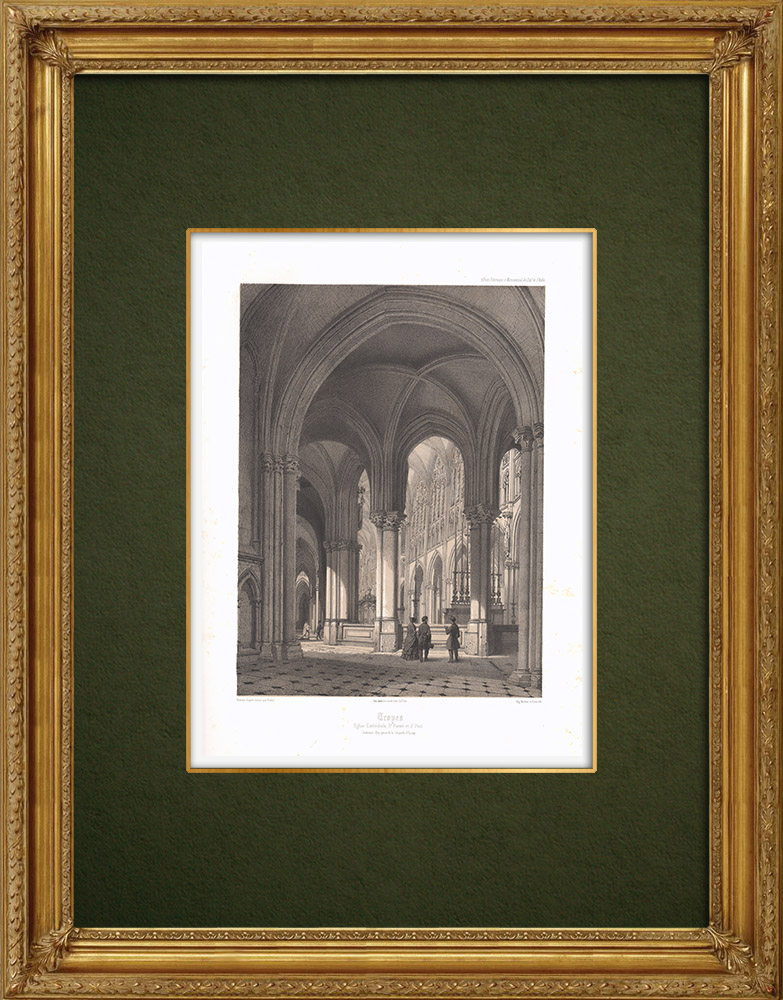 Antique Prints & Drawings | Cathedral Saint-Pierre of Troyes - Interior - Aube (France) | Lithography | 1852