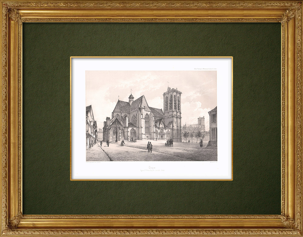 Stampe Antiche & Disegni | Chiesa Saint-Nizier a Troyes - Aube (Francia) | Litografia | 1852
