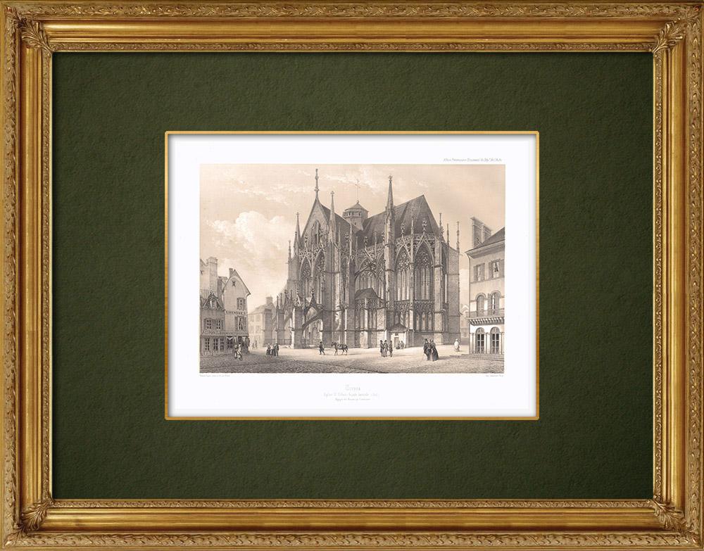 Stampe Antiche & Disegni | Basilica Saint Urbain di Troyes - Vista laterale - Aube (Francia)  | Litografia | 1852