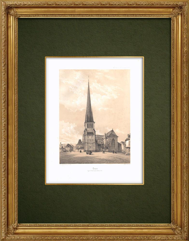 Gravures Anciennes & Dessins | Église Saint-Rémy de Troyes - Façade latérale - Aube (France) | Lithographie | 1852