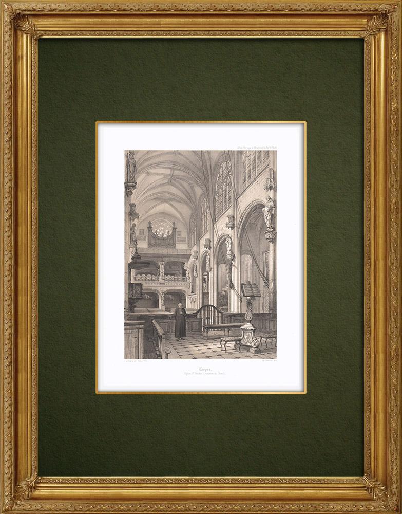 Stampe Antiche & Disegni | Chiesa Saint Nicolas di Troyes - Aube (Francia) | Litografia | 1852