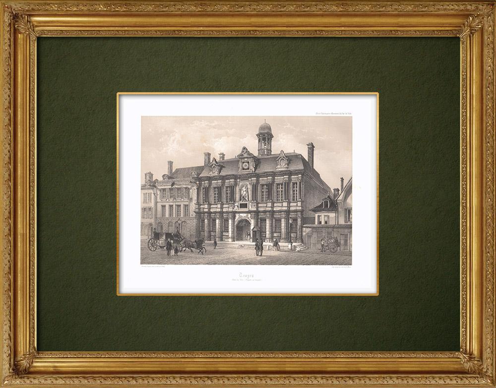 Stampe Antiche & Disegni | Municipio di Troyes - Sciampagna-Ardenna - Aube (Francia) | Litografia | 1852