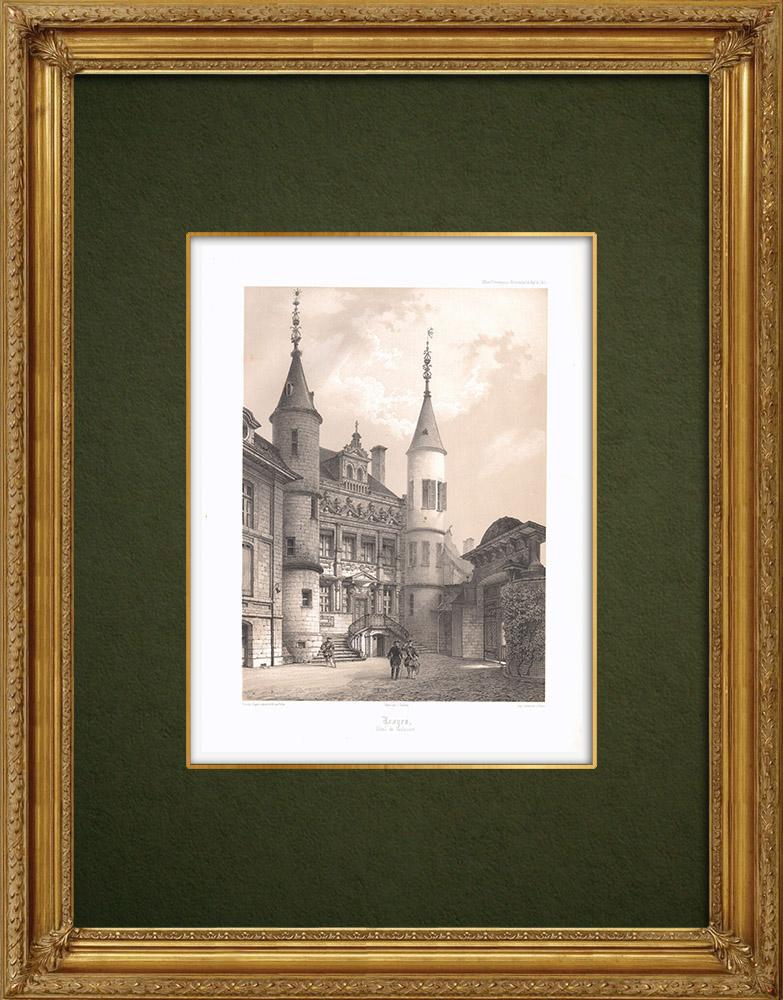 Stampe Antiche & Disegni | Hôtel de Vauluisant ad Troyes - Sciampagna-Ardenna - Aube (Francia) | Litografia | 1852