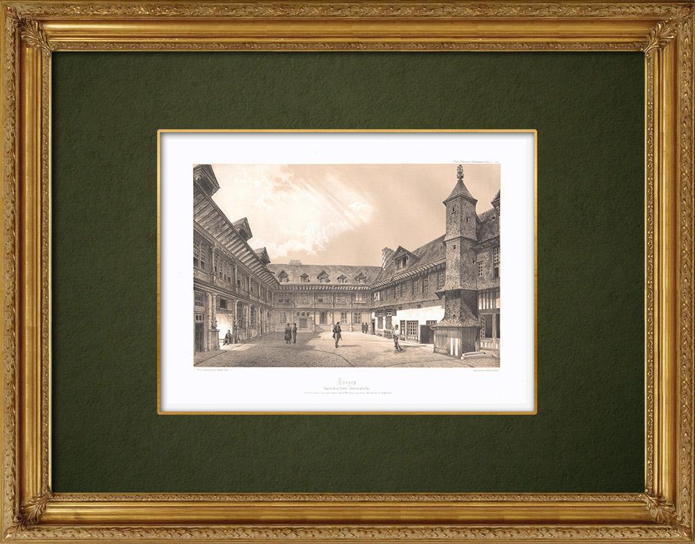 Stampe Antiche & Disegni | Ospedale - Hôpital de la Trinité di Troyes - Sciampagna-Ardenna - Aube (Francia) | Litografia | 1852