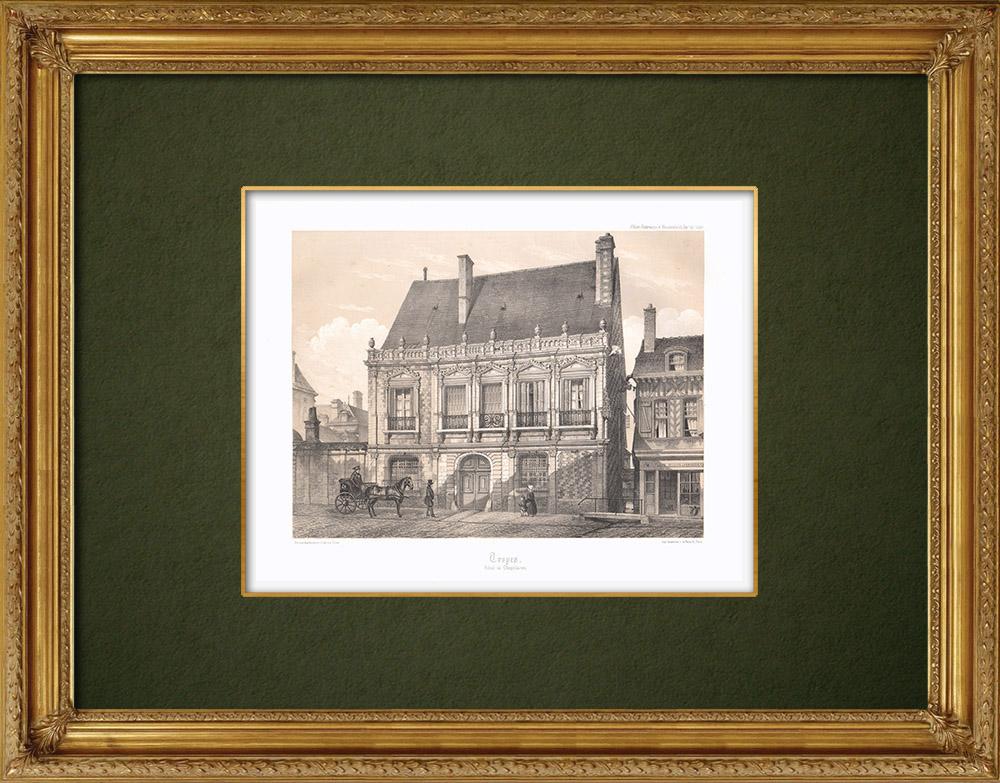 Stampe Antiche & Disegni   Hôtel de Chapelaines - Troyes - Sciampagna-Ardenna - Aube (Francia)   Litografia   1852