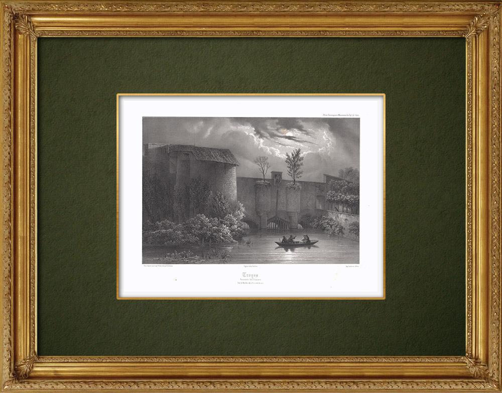 Stampe Antiche & Disegni | Troyes -  Antiche fortificazioni - La Planche Clément - Aube (Francia) | Litografia | 1852