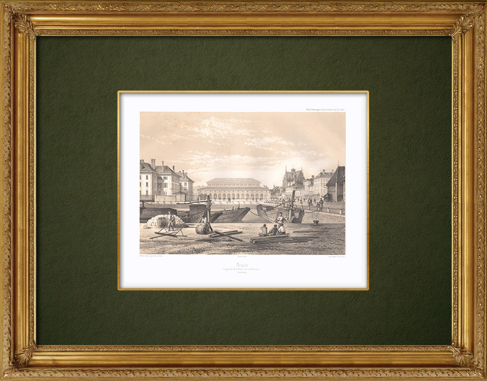 Antique Prints & Drawings | View of Troyes - Prefecture - Aube (France)  | Lithography | 1852