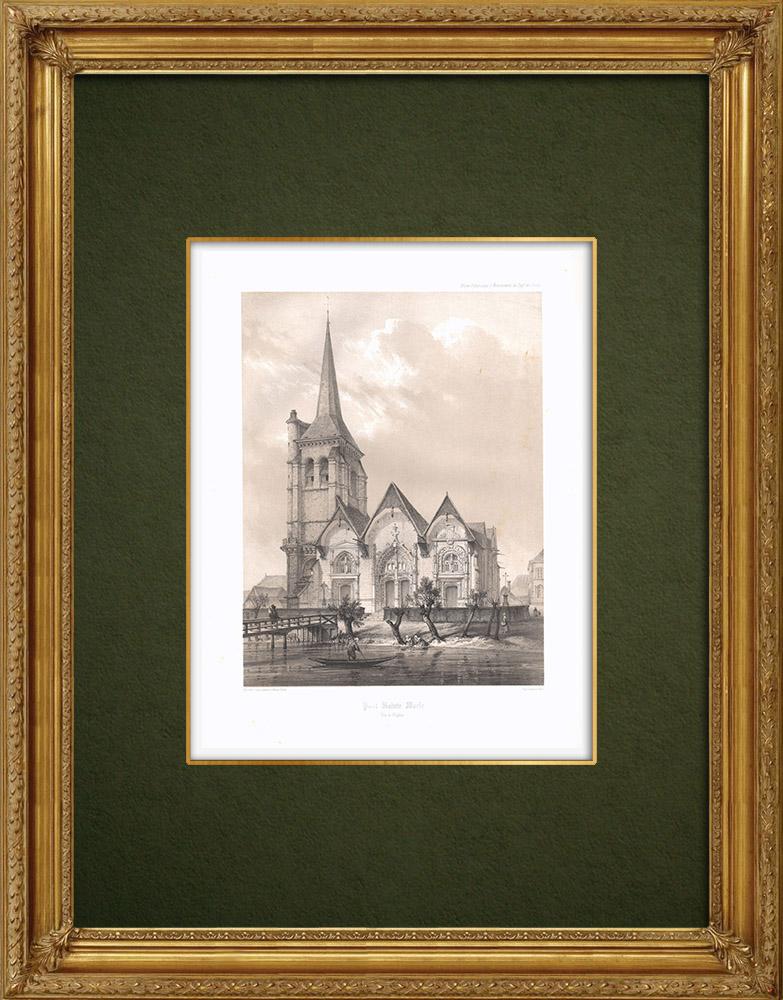 Grabados & Dibujos Antiguos | Iglesia de Pont-Sainte-Marie - Aube (Francia) | Litografía | 1852
