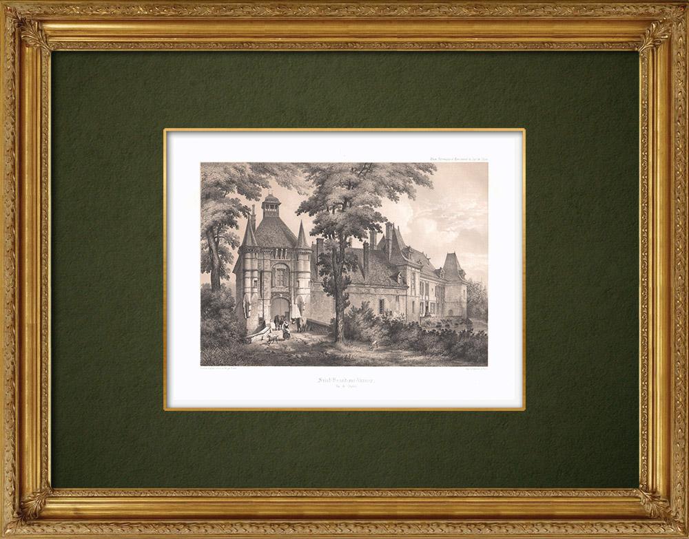 Antique Prints & Drawings   Castle of Saint-Benoist-sur-Vanne - Aube (France)   Lithography   1852