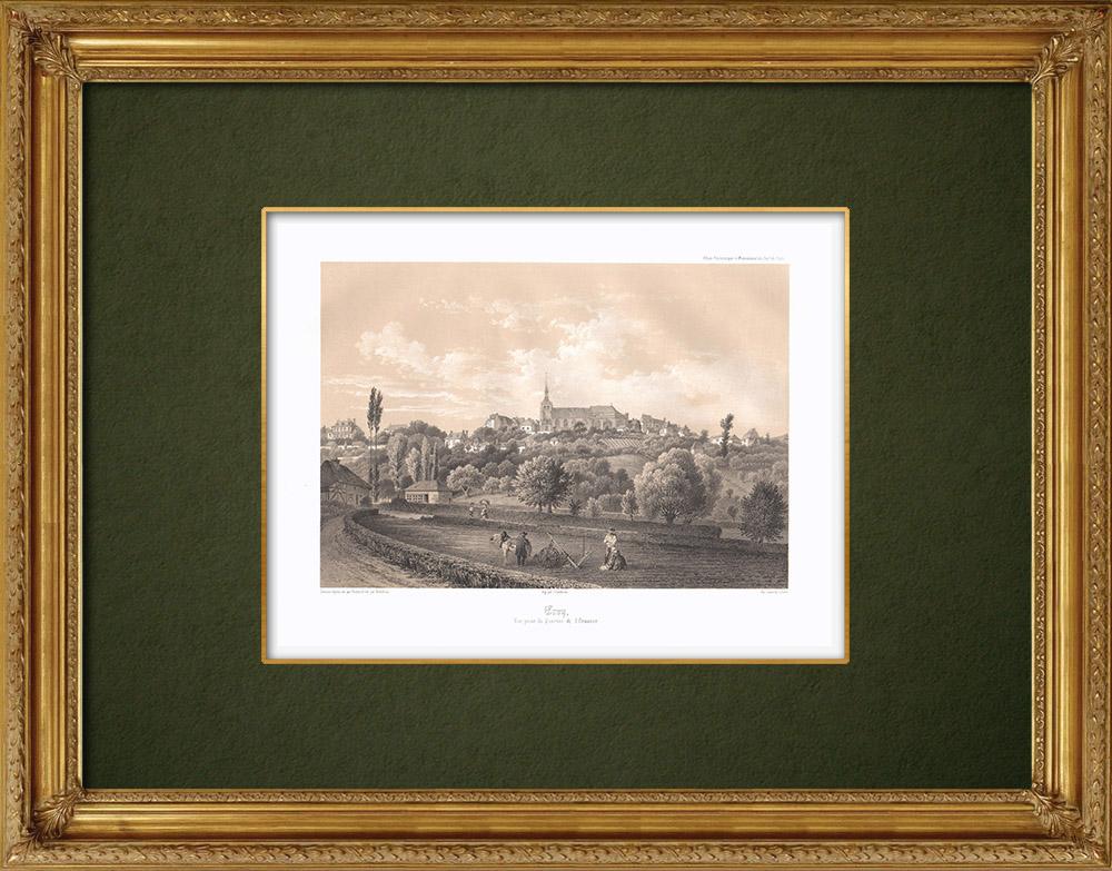 Stampe Antiche & Disegni | Veduta di Ervy-le-Châtel - Sciampagna-Ardenna - Aube (Francia) | Litografia | 1852