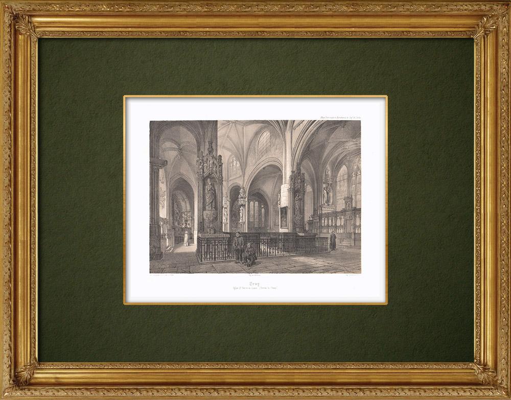 Stampe Antiche & Disegni | Veduta della Chiesa di Ervy-le-Châtel - Sciampagna-Ardenna - Aube (Francia) | Litografia | 1852