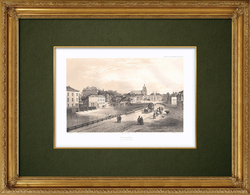 Antique Prints & Drawings | View of Arcis-sur-Aube - Aube (France) | Lithography | 1852