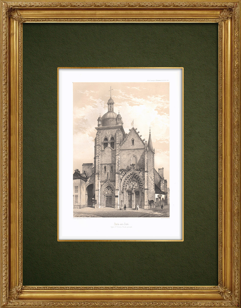 Stampe Antiche & Disegni | Chiesa di Arcis-sur-Aube - Aube (Francia) | Litografia | 1852