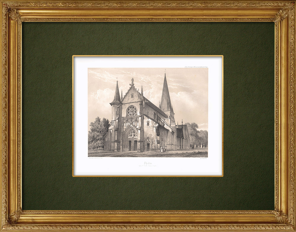 Antique Prints & Drawings | Church Ste-Tanche of Lhuître - Aube (France) | Lithography | 1852
