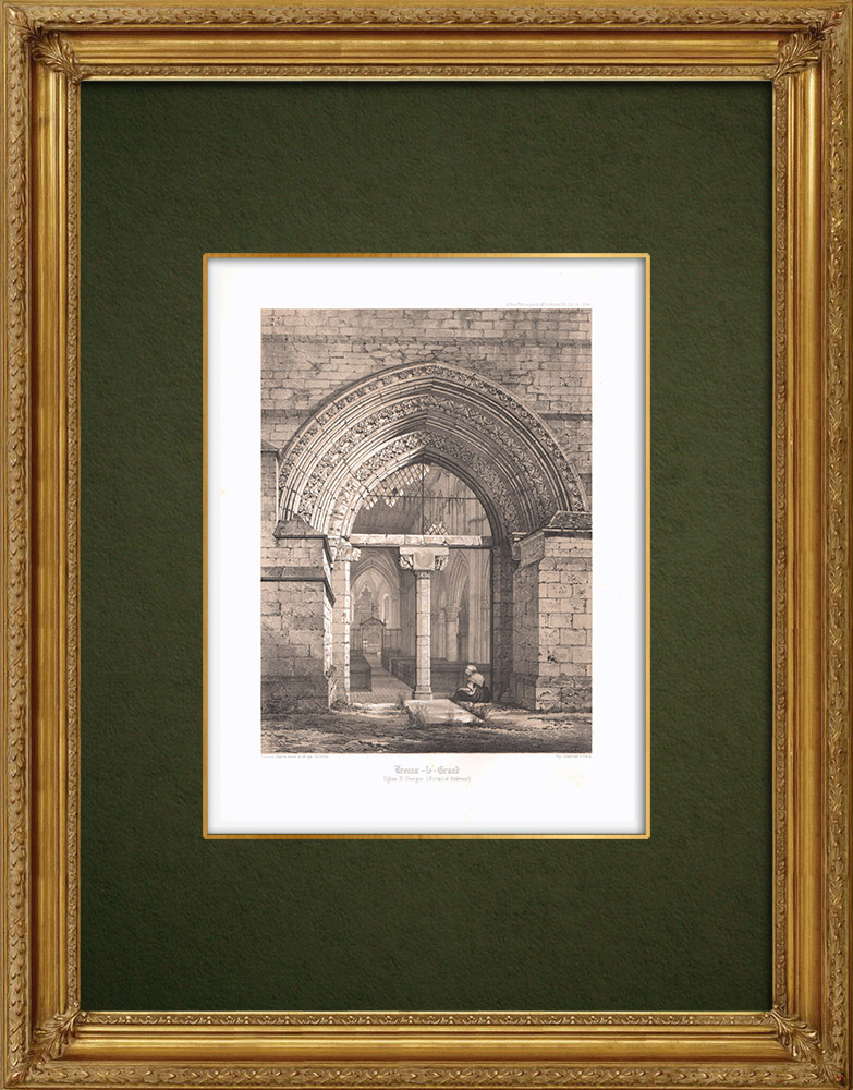 Antique Prints & Drawings | Church of Trouans-le-Grand - Aube (France) | Lithography | 1852