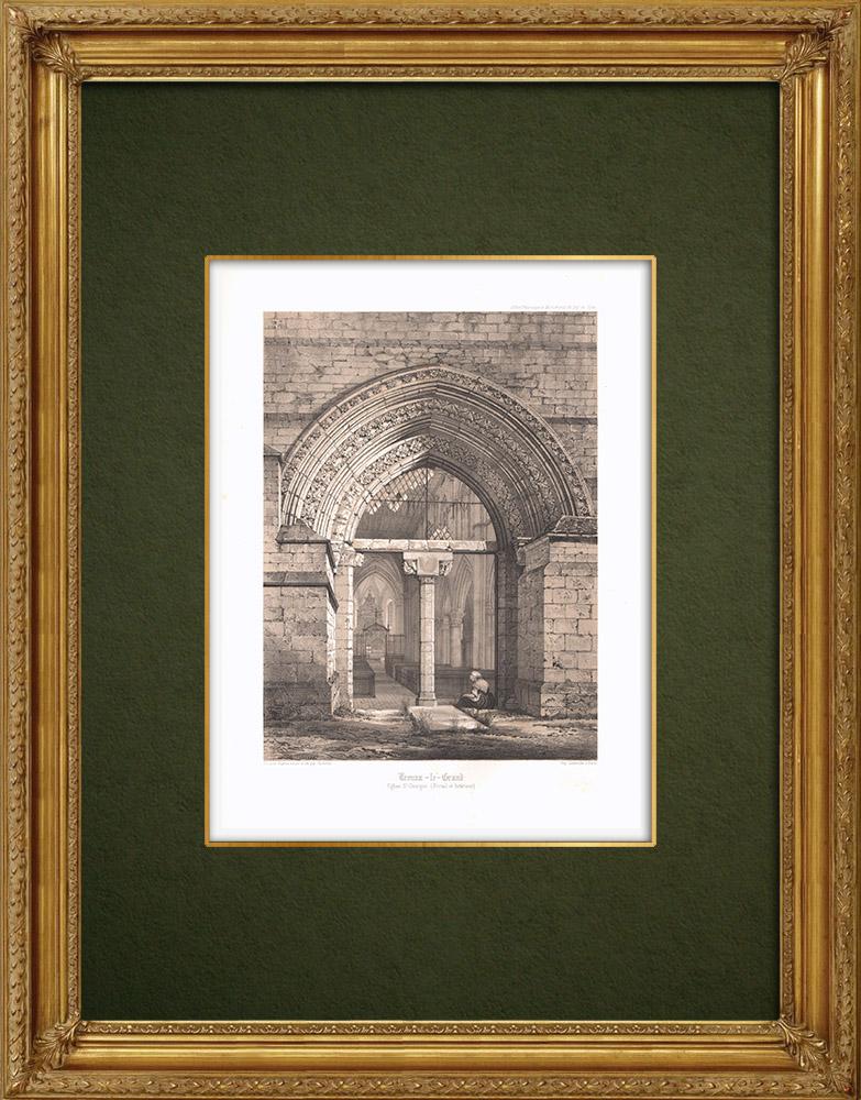 Grabados & Dibujos Antiguos | Iglesia de Trouans-le-Grand - Aube (Francia) | Litografía | 1852