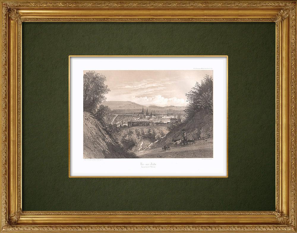 Stampe Antiche & Disegni | Veduta di Bar-sur-Aube - Sciampagna-Ardenna - Aube (Francia) | Litografia | 1852