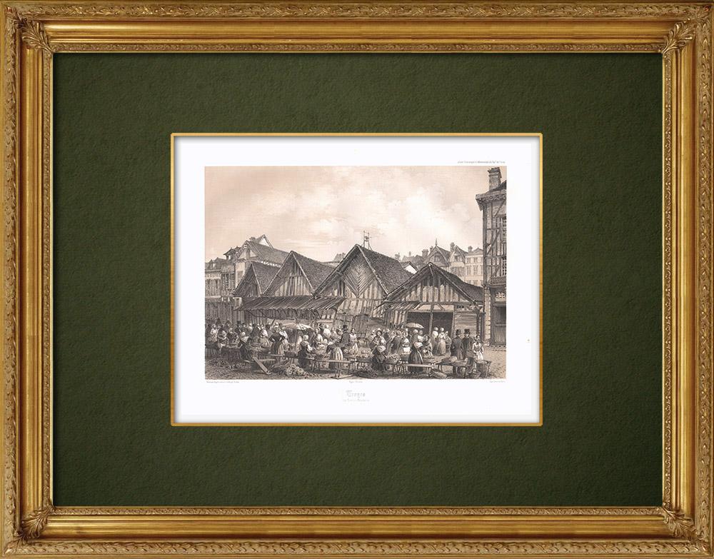 Stampe Antiche & Disegni | Troyes - Les grandes boucheries - Mercato della carne - Aube (Francia) | Litografia | 1852