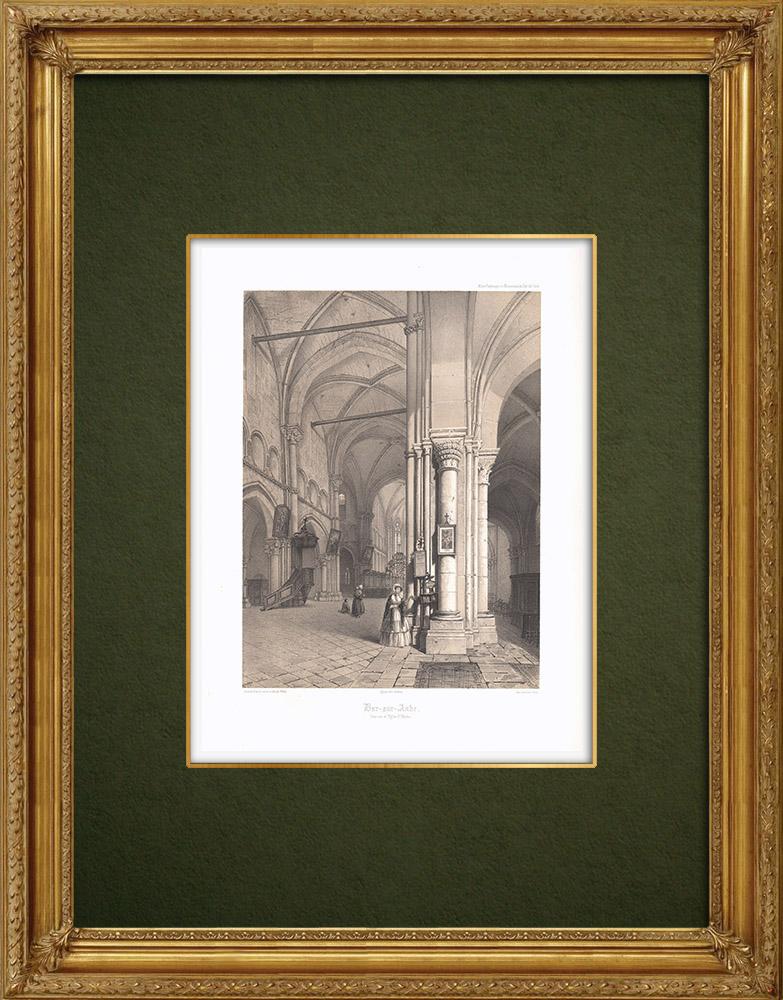 Stampe Antiche & Disegni | Chiesa San-Maclou di Bar-sur-Aube - Sciampagna-Ardenna - Aube (Francia) | Litografia | 1852