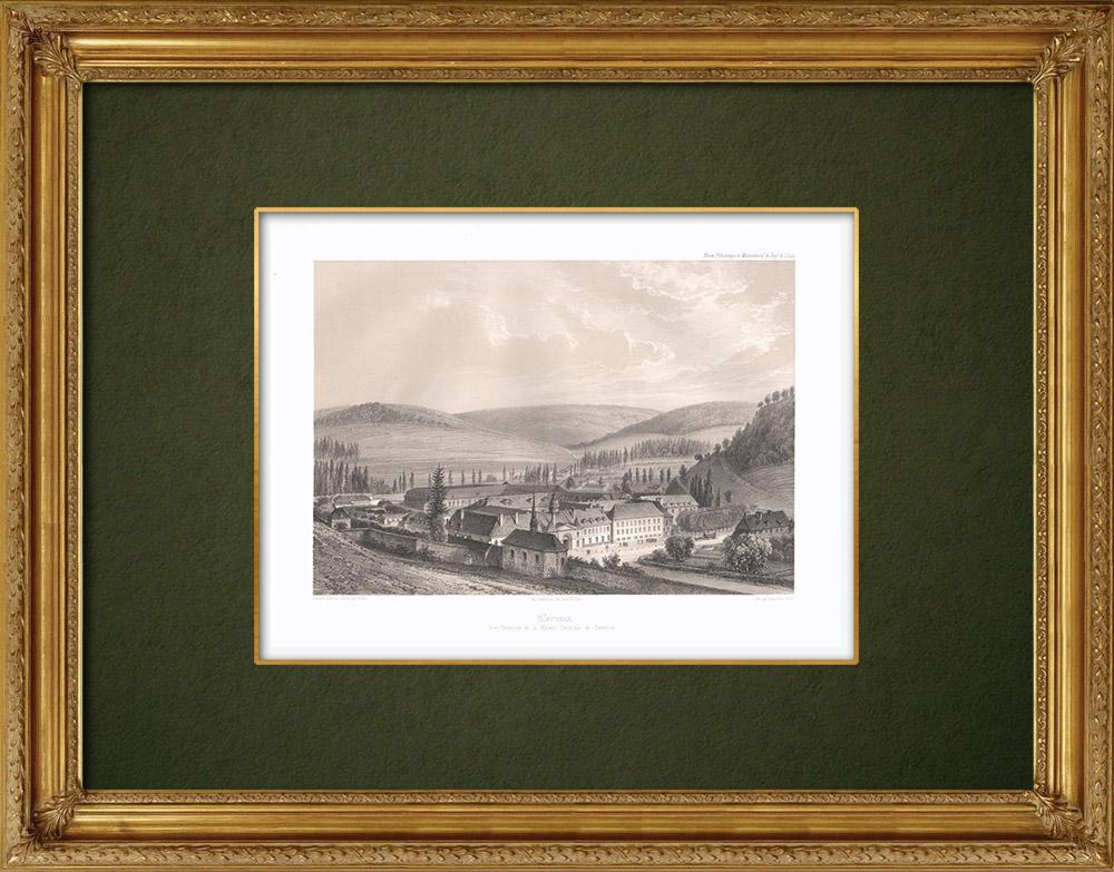 Grabados & Dibujos Antiguos | Prisión de Clairvaux - Aube (Francia) | Litografía | 1852