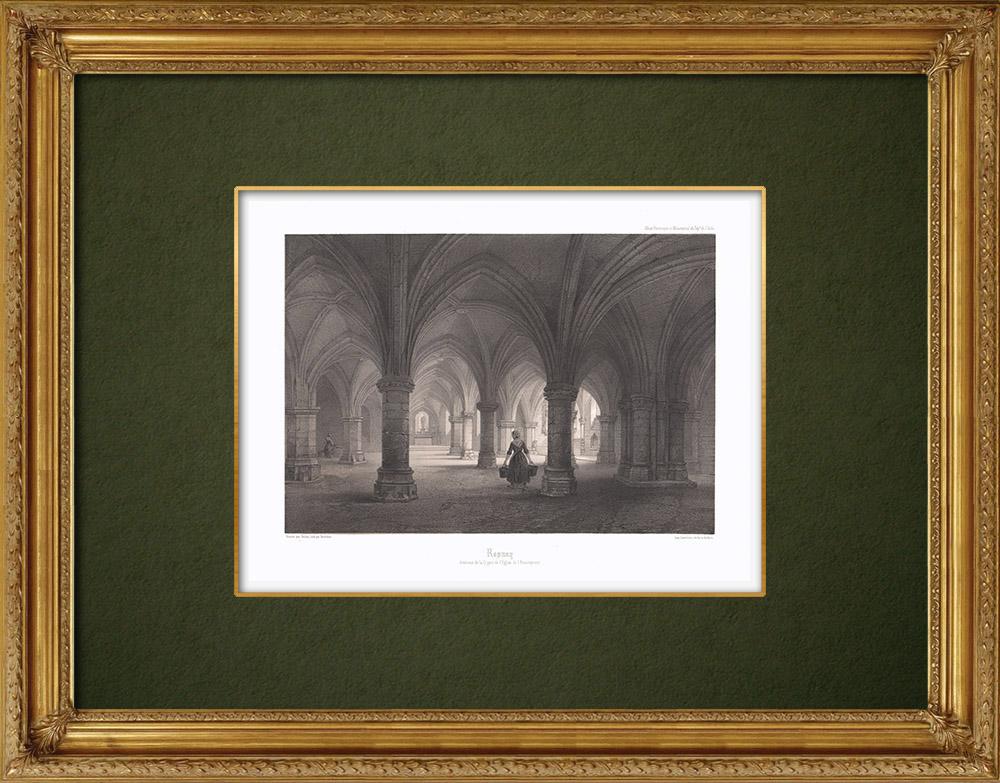 Gravures Anciennes & Dessins | Église Notre-Dame de l'Assomption à Rosnay-l'Hôpital - Crypte - Aube (France) | Lithographie | 1852