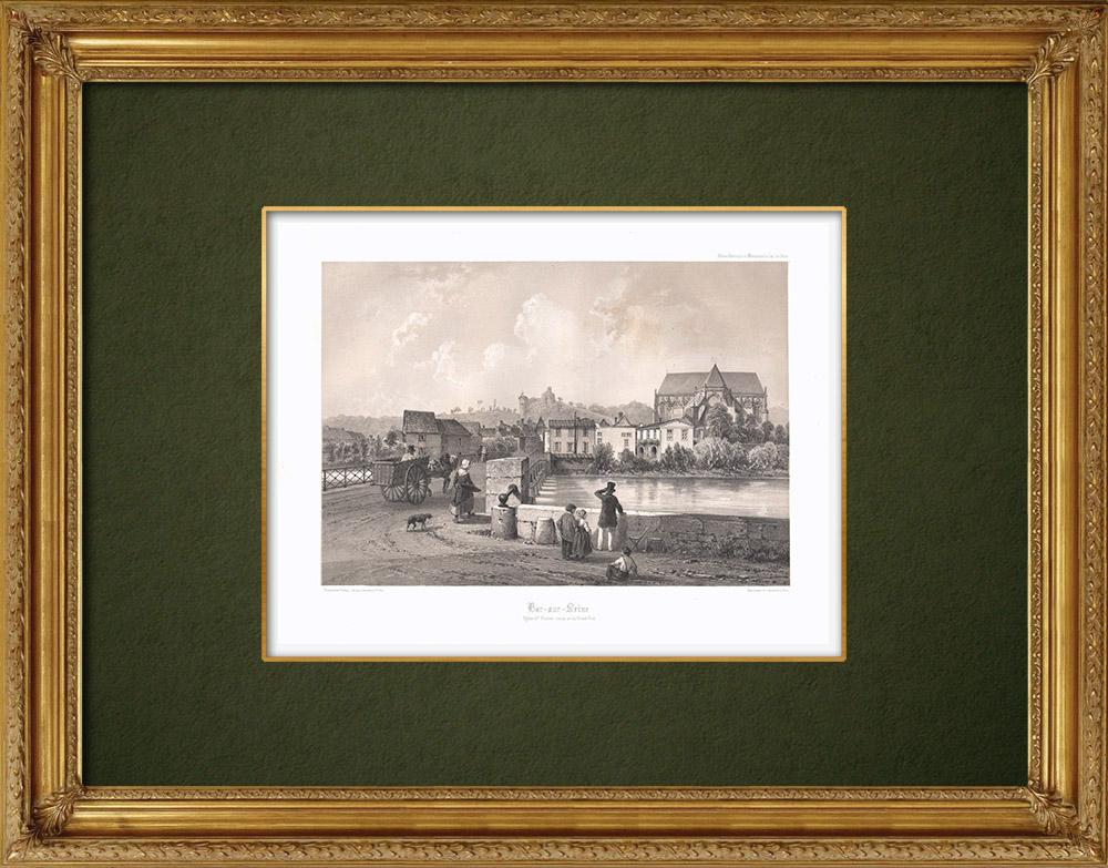 Stampe Antiche & Disegni | Veduta di Bar-sur-Seine - Chiesa - Aube (Francia) | Litografia | 1852