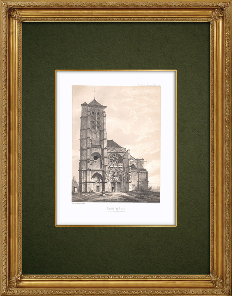Antique Prints & Drawings | View of Rumilly-lès-Vaudes - Church - Aube (France) | Lithography | 1852