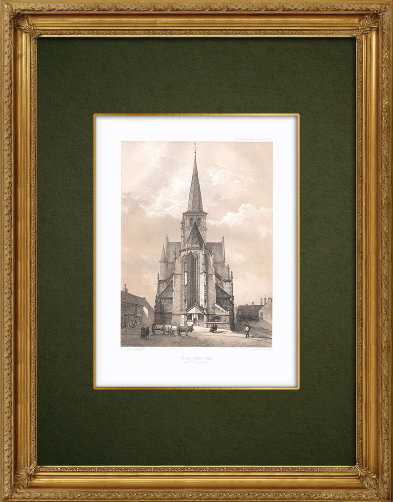 Antique Prints & Drawings   Les Riceys - Ricey-Haute-Rive Church - Aube (France)   Lithography   1852