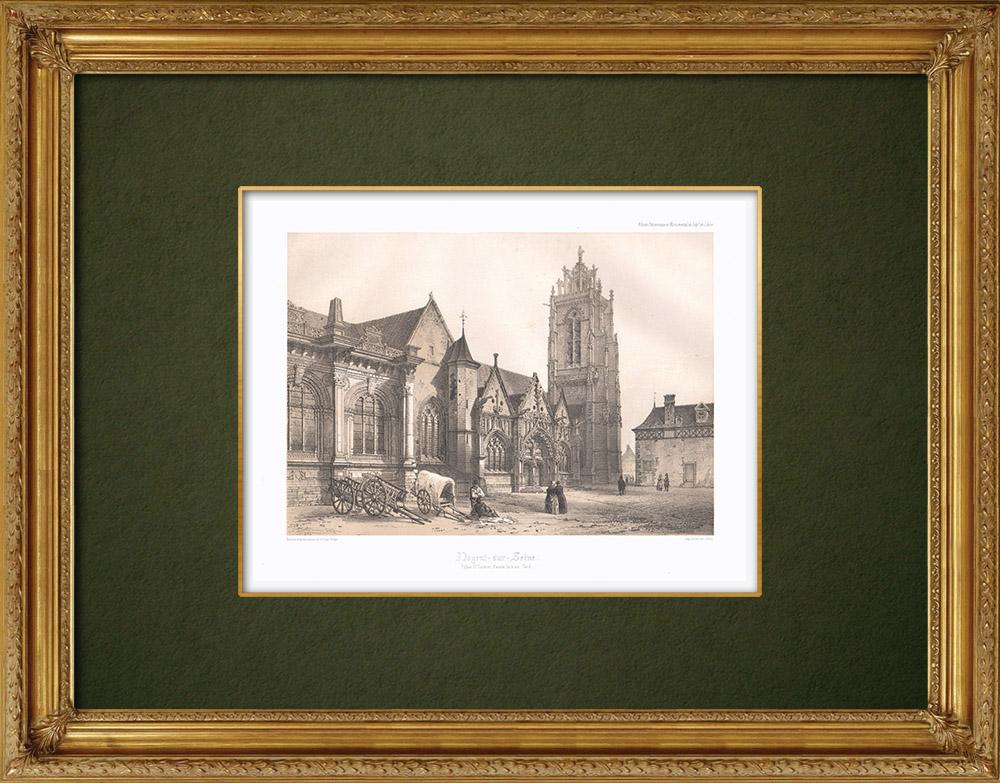 Stampe Antiche & Disegni | Chiesa di Nogent-sur-Seine - Aube (Francia) | Litografia | 1852